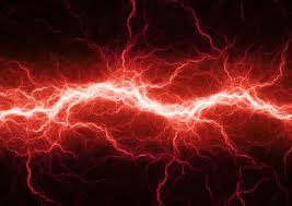 Red Electric Lighting Abstract Electrical Storm Vector Art Illustration
