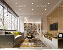 3d rendering minimal gelbe modernes wohnzimmer mit holz tvwand stockfoto und mehr bilder architektur