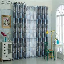American Curtains For Living Dining Room Bedroom Simple Modern Geometric Green Gauze Fabric In From Home Garden On Aliexpress