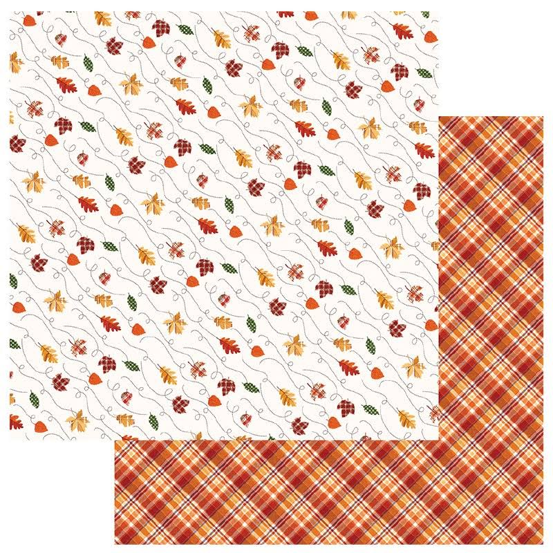 "Mad 4 Plaid Fall Collection Double Sided Paper - Leaves Are Falling, 12""x12"""