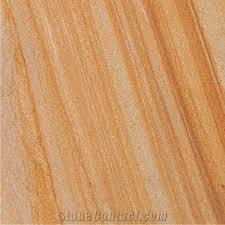 Teakwood Sandstone Slabs Tiles Yellow Polished Floor Wall