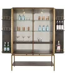 Zoom Image Pollock Drinks Cabinet Traditional Transitional MidCentury Modern Glass Metal Parchment