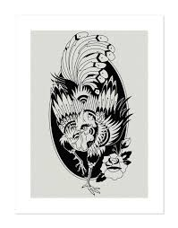 rooster black white neo traditional tattoo flash old