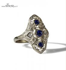 Antique Style Genuine Blue Sapphire Ring 14k White Gold Edwardian Filigree And Diamond Victorian Engagement