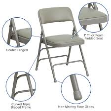 Gray Vinyl Folding Chair HA-MC309AV-GY-GG | RestaurantFurniture4Less.com Fabric Padded Seatmolded Fan Back Folding Chair By Cosco 4400 Portable Chairs For Any Venue Clarin Seating The 7 Best Chairs Of 2019 White Resin Lel1whitegg Bizchaircom Wood Xf2901whwoodgg Foldingchairs4lesscom National Public 3200 Series Xl 2inch Vinyl 2 Taller Quad Black Lel1blackgg Deluxe Seat Flash Fniture Plastic With 21 Beach