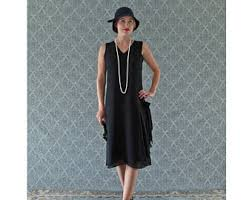 V Neck Black Flapper Dress With Drape And Bow Great Gatsby 1920s