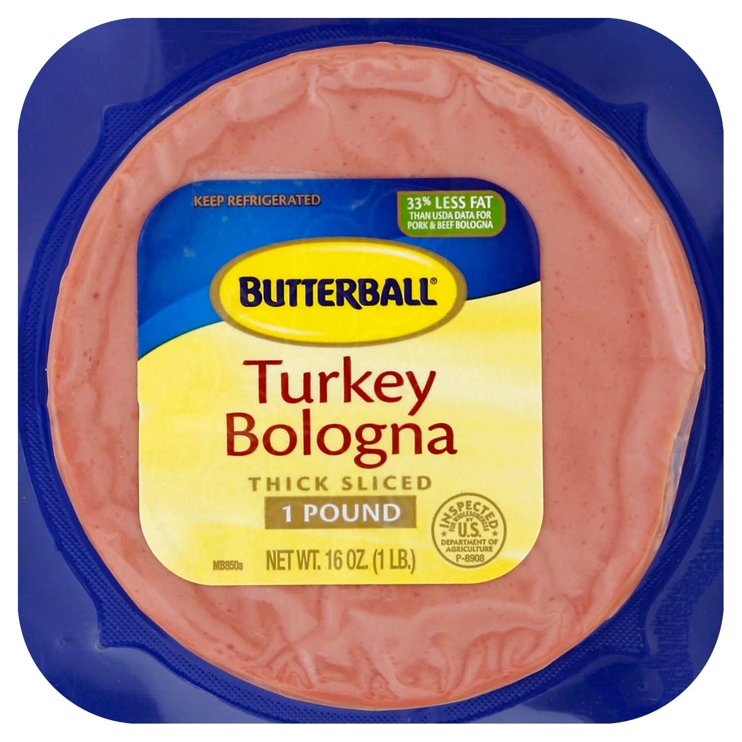 Butterball Bologna, Turkey, Thick Sliced - 16 oz