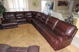 Macy s Duncan 7 Pc Burgundy Leather Quintuple Electric Reclining