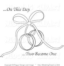 Vector Marriage Clipart of a Wedding on This Day Two Be e e Text with a Ribbon