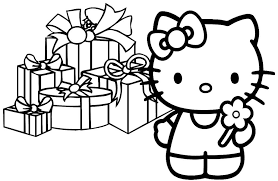 Hello Kitty Christmas Coloring Pages Pertaining To