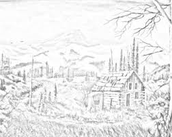 Cabin In The Woods Country And Landscape Downloadable Adult Coloring Page