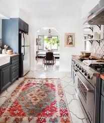 Spanish California Home Country Kitchen Emily Henderson Blue Wood Concrete Tile Open Shelving
