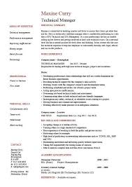 Technical Manager Resume Example Sample Project Competencies Employer Jobs CV