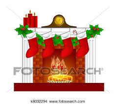 Drawings Of Fireplace Christmas Decoration Wth Stockings And