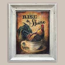 Vintage Rooster In Coffee Cup Mixed Media Print Kitchen Decor Via Etsy