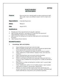 Custodian Resume Sample Janitor Job Description