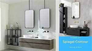 ovaler verspielter badezimmerspiegel contour in schwarz oder
