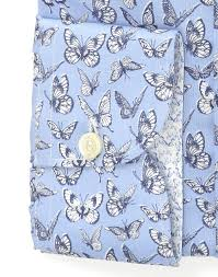 blue butterflies patterned dress shirt extra slim body with