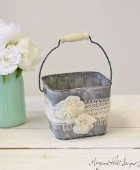 Flower Girl Basket Galvanized Tin Burlap Lace Paper Roses Item Number 140317 NEW ITEM