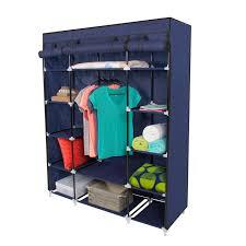 "53"" Portable Closet Storage Organizer Wardrobe Clothes Rack With"