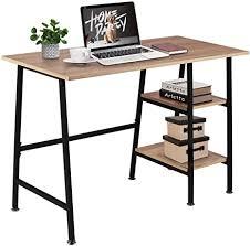 vecelo schreibtisch computertisch pc tisch bürotisch mit 2 ablagen holz pc tisch arbeittisch stabil für zuhaus wohnzimmer und büro 109 51 76cm