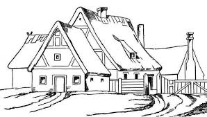House With Big Barn In Houses Coloring Page