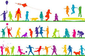 Kids Playing Outside Clipart Set Colored Children Silhouettes Outdoor Royalty Free