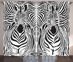 Zebra Window Curtains Black White Animal Print 2 Panels Set