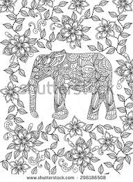 Hand Drawn Elephant Coloring Page
