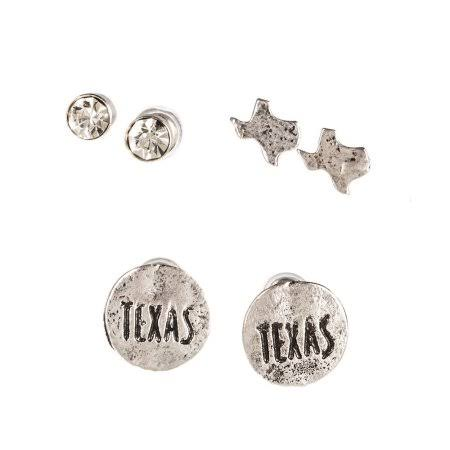 Womens J West Worn Gold Texas 3 Stud Set - E567