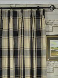 108 Inch Navy Blackout Curtains by Hudson Yarn Dyed Big Plaid Blackout Double Pinch Pleat Curtains