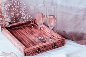Vintage Rustic Style Pair Of Wine Glasses And Wooden Tray Champagne Flutes On The Wedding Table Mockup
