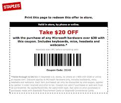 Staples $20 Off $30 MicroSoft Hardware Purchase (Printable ...