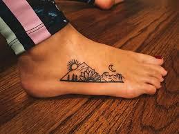 Pretty Mountain Sunset Tattoo On Foot