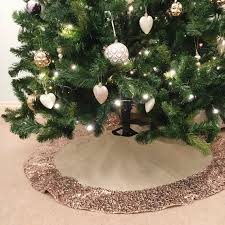 Seashell Christmas Tree Skirt by Christmas Tree Skirt With Rose Gold Sequin Trim Made From Hessian