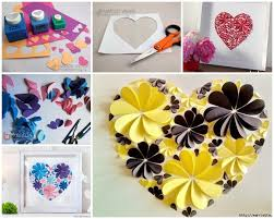 VIEW IN GALLERY 3d Paper Flower Heart Wonderfuldiy2 Delightful DIY Wall Art Free Guide And Templates
