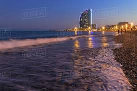 100 The W Barcelona La Barceloneta Beach And The Hotel In The Background Catalonia Spain Europe Stock Photo