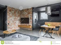 wohnzimmer mit offener küche stockfoto bild