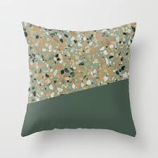 Terrazzo Texture Military Green 4 Throw Pillow