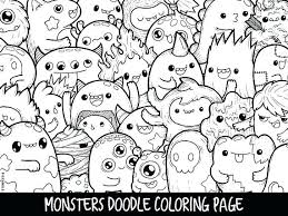 Monsters Doodle Coloring Page Printable Cute Kawaii Pages Home Improvement Colouring Animal
