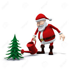 Xmas Tree Waterer by 3d Rendering Illustration Of A Cartoon Santa Watering A Pine