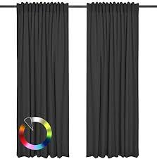 rollmayer vorhänge mit tunnelband kollektion dunkel grafit 61 135x240 cm bxh blickdicht uni einfarbig gardinen schal für schlafzimmer