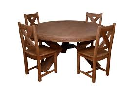 Triomphe Weathered Oak 6 Person Round Dining Table + 4 Solid Oak Dining  Chairs Table Glass Likable Solid Chairs Legs Base Round Avenue Oak Top Natural Lacquer Ausgezeichnet Small Wood Ding Tables Spaces Argos Extra Large Chestnut Finish Jacobian 42 Open Up To 60 Wood Top And Four Chairs 6484 Room With Hidden Leaves Missouri Pedestal 6 Set And Napolean 4 White