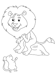 Happy Lion With Mouse Coloring Page