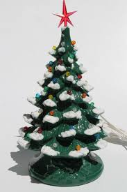 Retro Ceramic Christmas Tree Lighted Electric Tabletop Lamp W