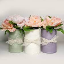 Brand New Trending Painted Tin Cans Wedding Centerpieces Vintage Flower Vases Rustic