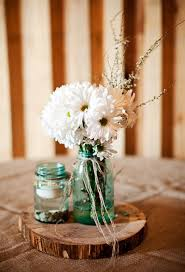 Rustic Country Wedding Table Centerpieces I Like The Little Jar With Floating Candle
