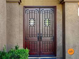 Double Oak Front Doors Glazed Wooden Rustic Style Jeld Wen Aurora Model A 1322 Fiberglass 5 X 8 Timber