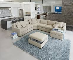furniture ethan allen sectional sofas in beige with ottoman