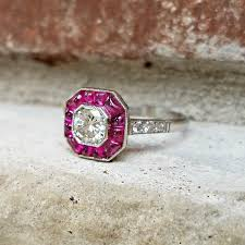 deco ruby and ring vintage deco ruby halo target engagement ring in